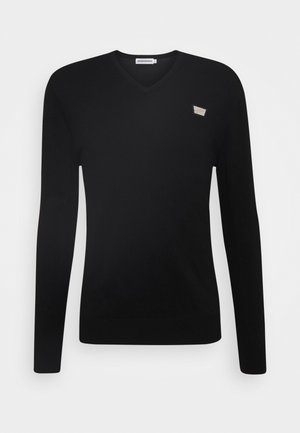 VNECK COLLAR WITH PLAQUETTE ON CHEST - Jumper - black
