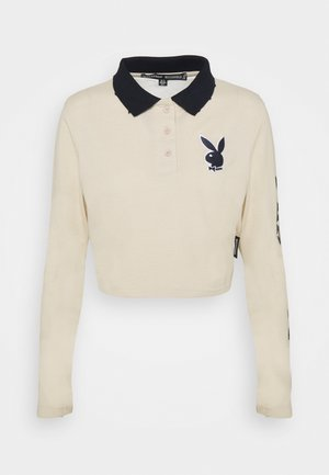 PLAYBOY VARSITY CROP TOP - Polo shirt - stone