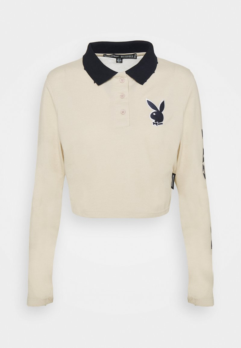 Missguided Petite - PLAYBOY VARSITY CROP TOP - Polo shirt - stone