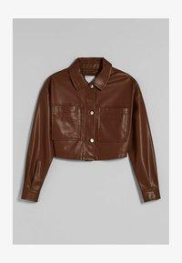 Bershka - CROPPED AUS - Faux leather jacket - brown - 4