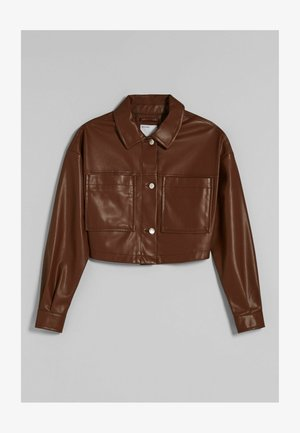 CROPPED AUS - Faux leather jacket - brown