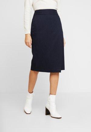 PINSTRIPE SKIRT - Wrap skirt - navy blue