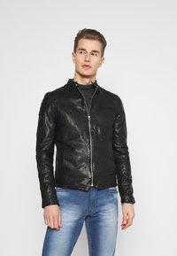 Goosecraft - MADRID BIKER - Leather jacket - black - 0