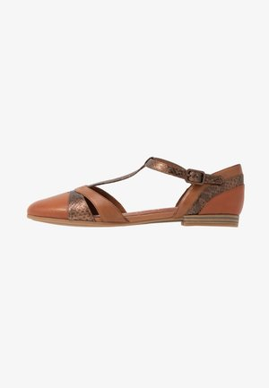 Ankle strap ballet pumps - brandy