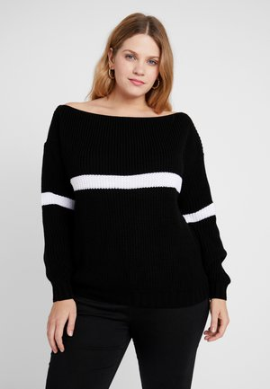 STRIPE OVERSIZED JUMPER - Pullover - black