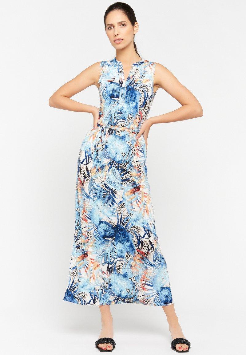 LolaLiza - FLORAL AND LEOPARD PRINT - Maxi dress - light blue