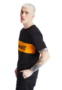 Timberland - CUT AND SEW TEE - Print T-shirt - black - 3