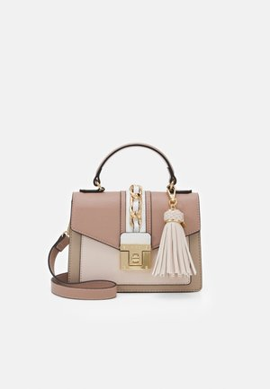 MIX MAT - Bolso de mano - dark pink/bone/taupe/white