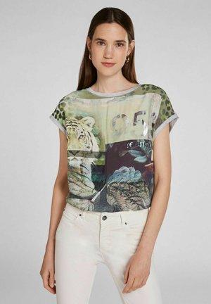 Print T-shirt - light grey green