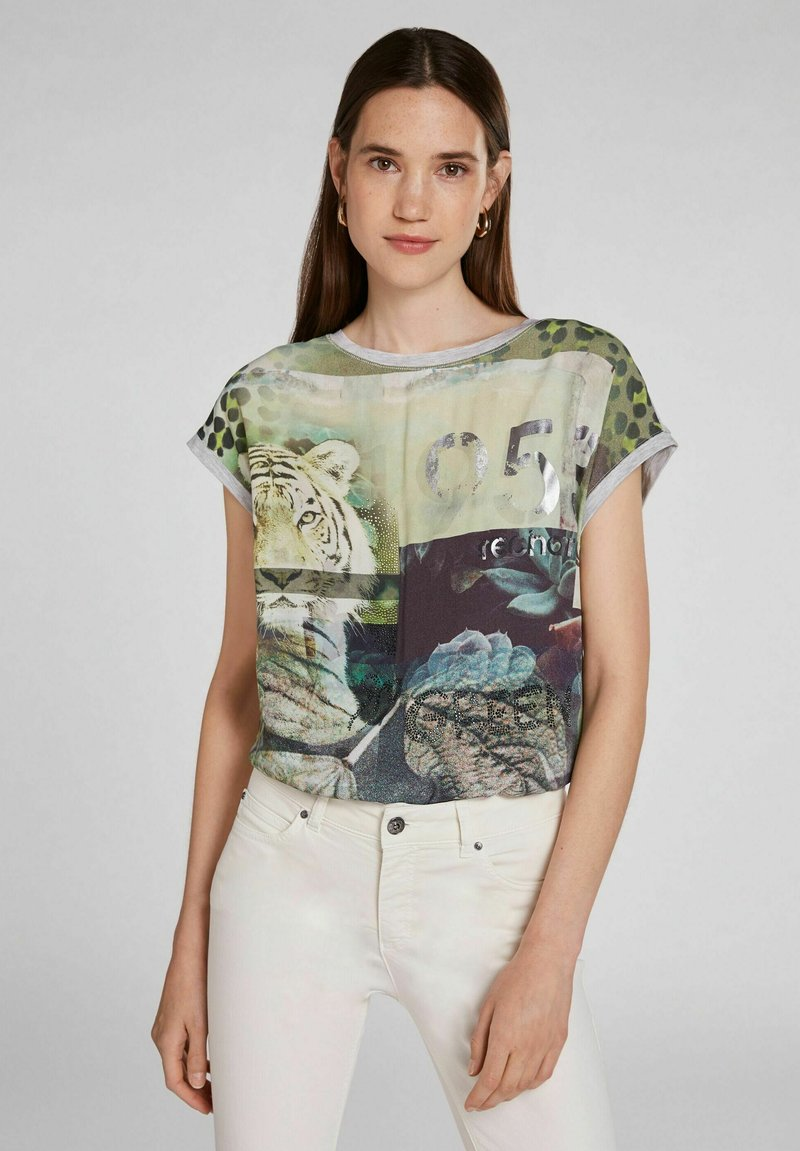 Oui - Print T-shirt - light grey green