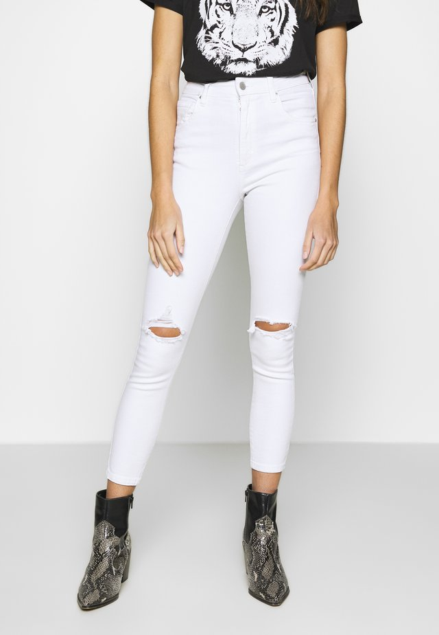 HIGH RISE CROPPED - Jeans Skinny Fit - white