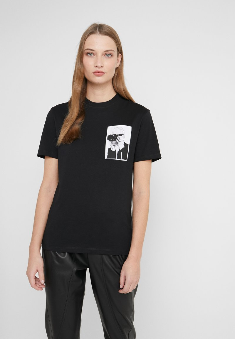 KARL LAGERFELD - LEGEND POCKET TEE - Print T-shirt - black