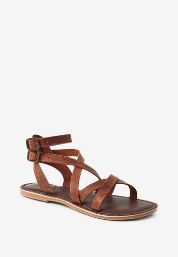 LEATHER GLADIATOR - Sandals - brown