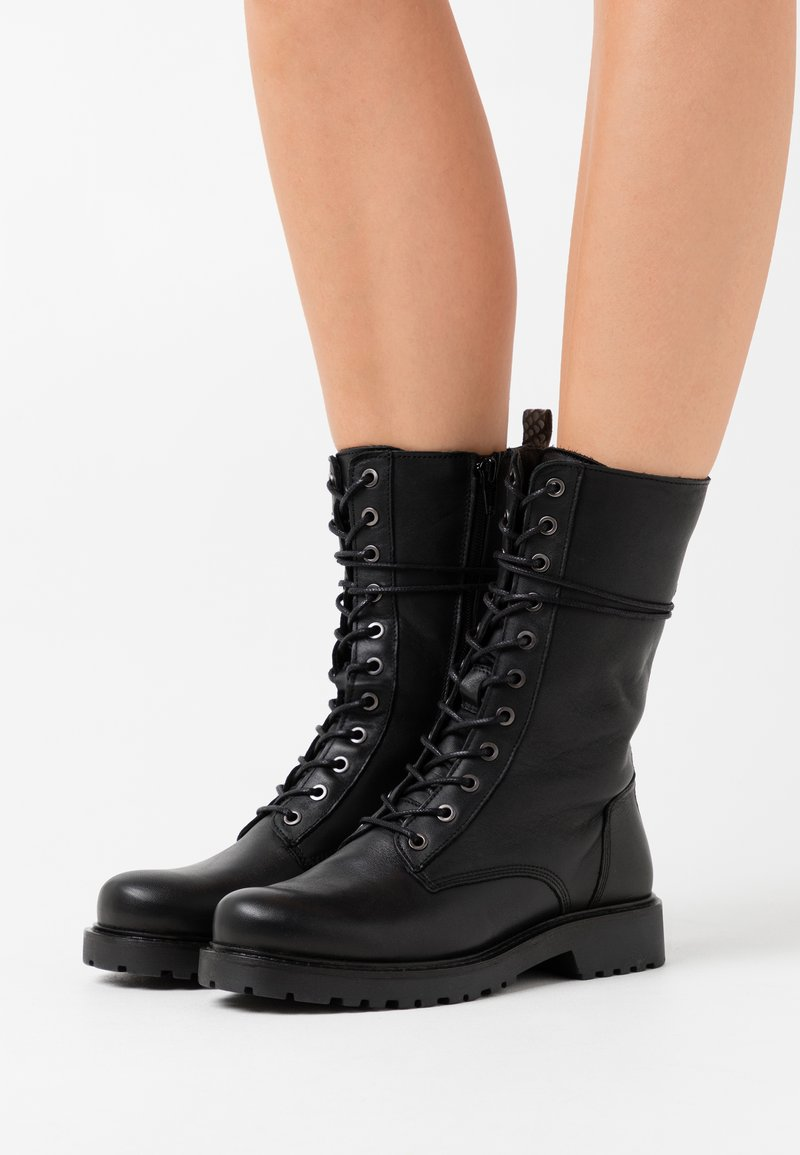Ca'Shott - Lace-up boots - black/yellow