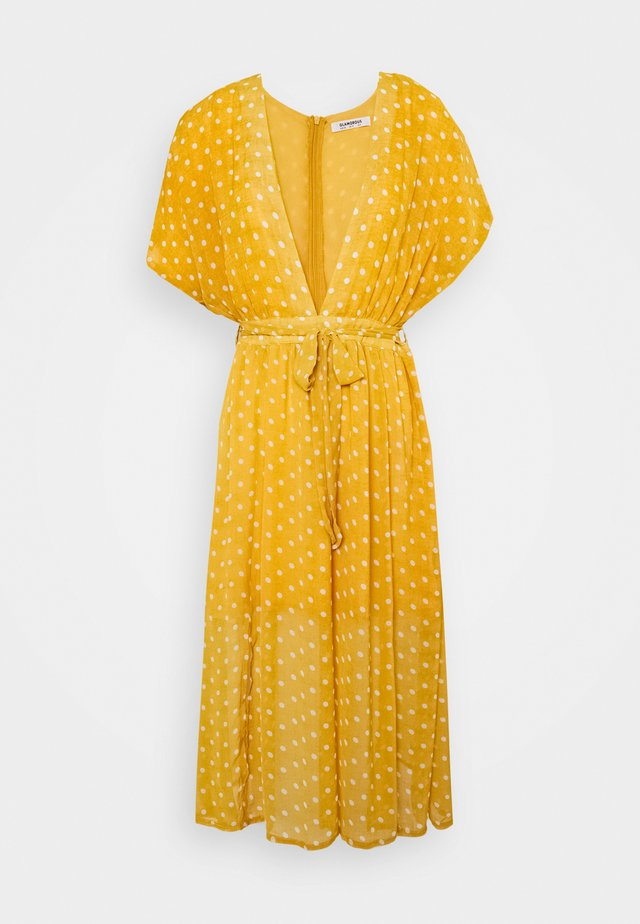 PLUNGE DRESS - Day dress - yellow/white
