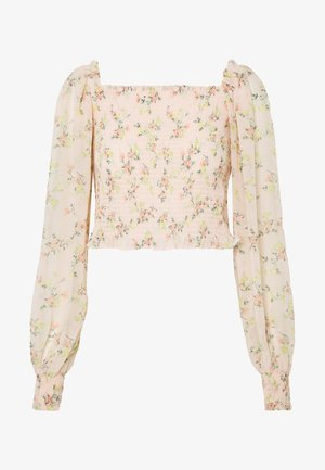 FLORAL SHIRRED BLOUSON SLEEVE BLOUSE - Blouse - nude