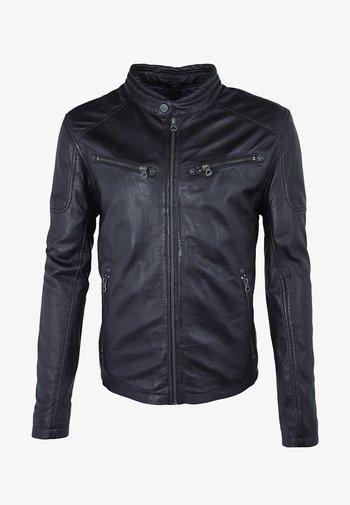 MARC - Leather jacket - navy/black