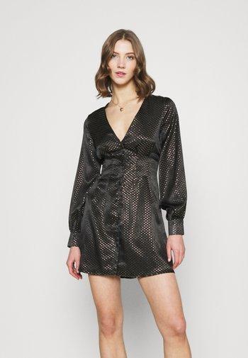 CINCHED WAIST A LINE MINI DRESS - Vestido de cóctel - black