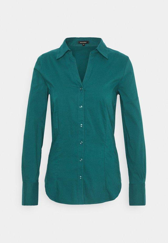 BLOUSE SLEEVE - Button-down blouse - dark petrol