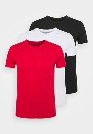 SLIM TEE 3 PACK - T-shirt basic - red/black/white