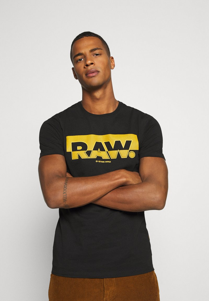 G-Star - RAW. GRAPHIC SLIM  - Triko spotiskem - black
