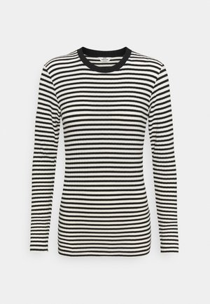 STRIPE MIX TUBA - Long sleeved top - off white/black