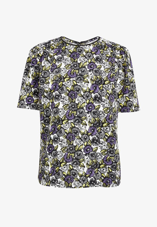 Next PURPLE FLORAL RUCHED SHORT SLEEVE TOP - Bluzka - white/biały OOSK