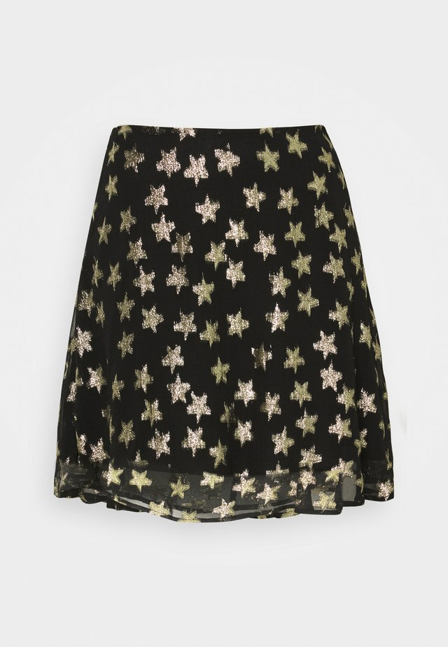 LOT SKIRT - Minisukně - black/gold