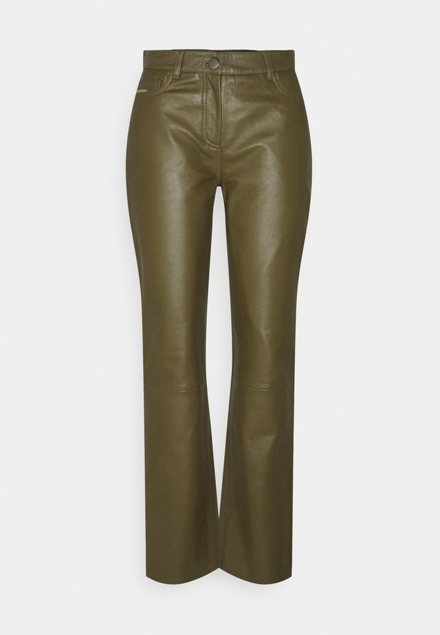 GRETA TROUSERS - Leather trousers - olive