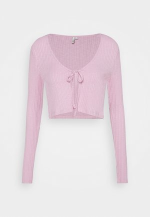 TIE FRONT - Chaqueta de punto - pink