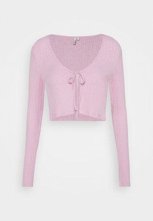 TIE FRONT - Strickjacke - pink