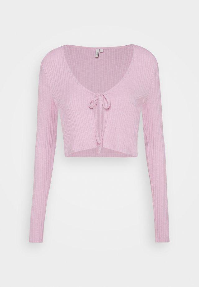 TIE FRONT - Cardigan - pink
