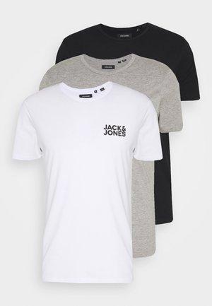 JACRETRO TEE 3 PACK - Tílko - black/white/light grey melange