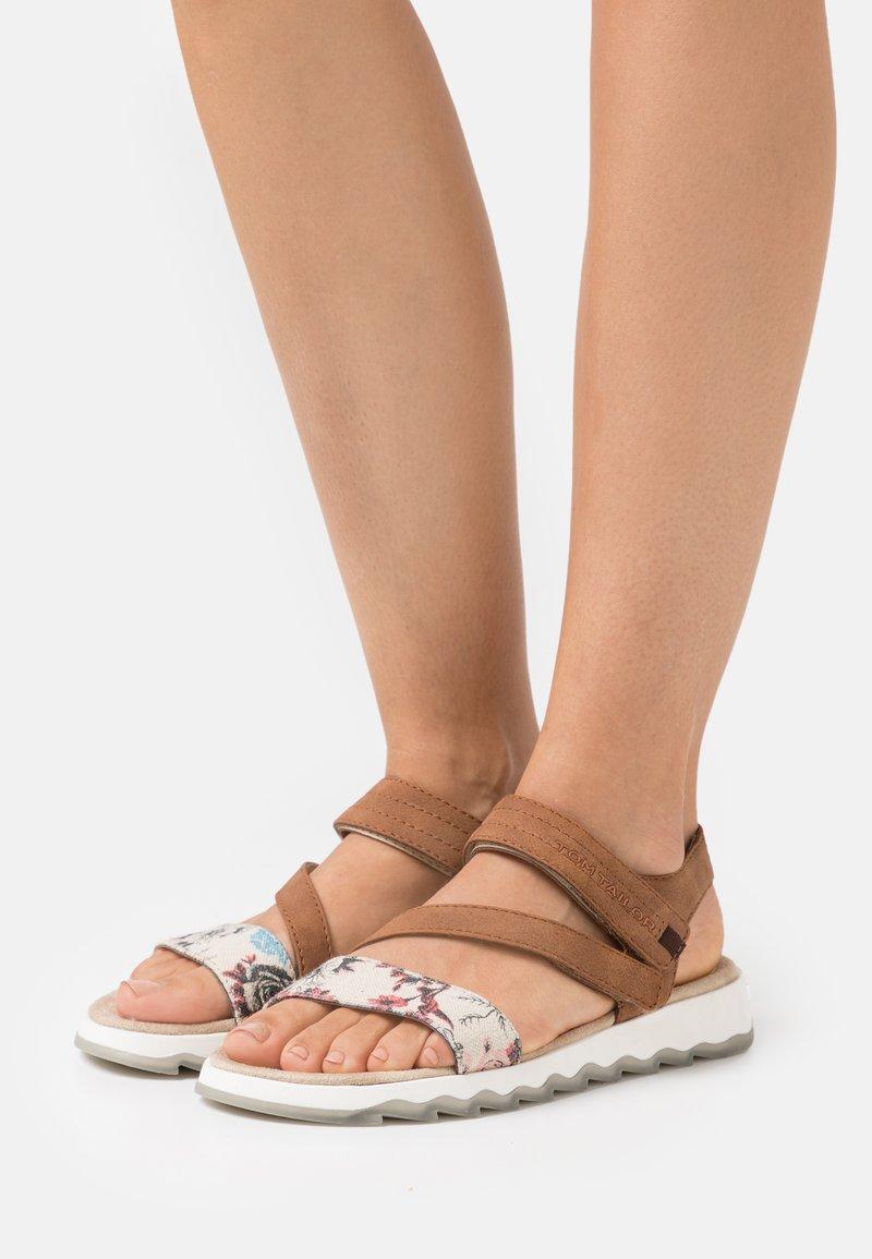 TOM TAILOR - Sandals - beige/cognac
