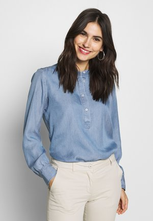 BLOUSE STAND UP COLLAR LONG SLEEVED - Blouse - light blue washed