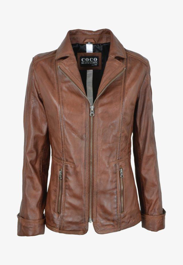 SANDRA - Leather jacket - mokka braun