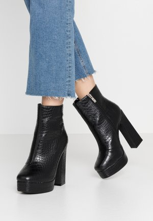 WIDE FIT HATTIE - High heeled ankle boots - black