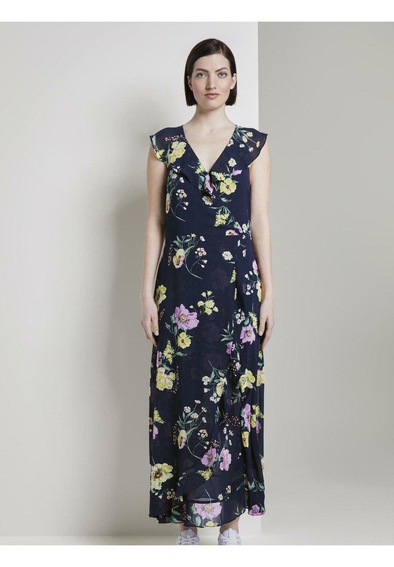 TOM TAILOR DENIM - MIT FLORALEM PRINT - Maxi dress - navy blue