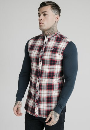 LONG SLEEVE CHECK GRANDAD SHIRT - Vapaa-ajan kauluspaita - grey/red