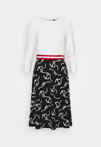 PRINTED MATTE DRESS BELT - Day dress - black/col cream