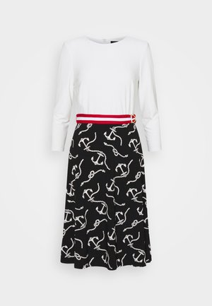 PRINTED MATTE DRESS BELT - Denní šaty - black/col cream
