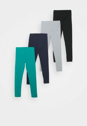 4 PACK - Leggings - turquoise/black/light grey
