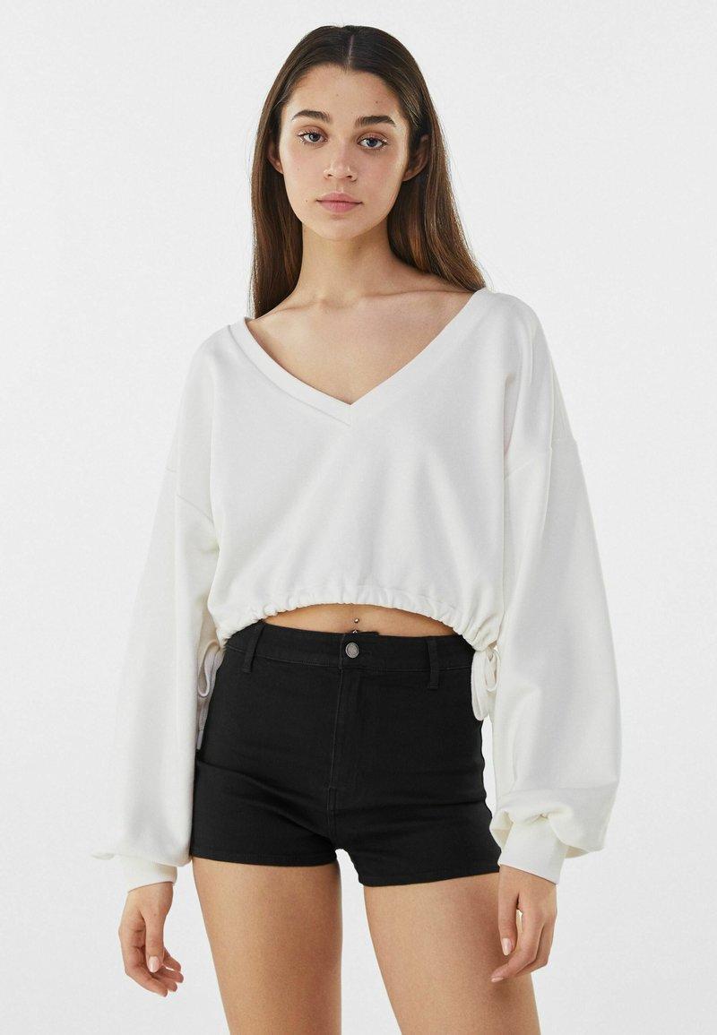 Bershka - Denim shorts - black