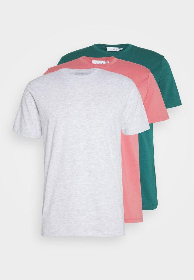 3 PACK - Basic T-shirt - grey/green