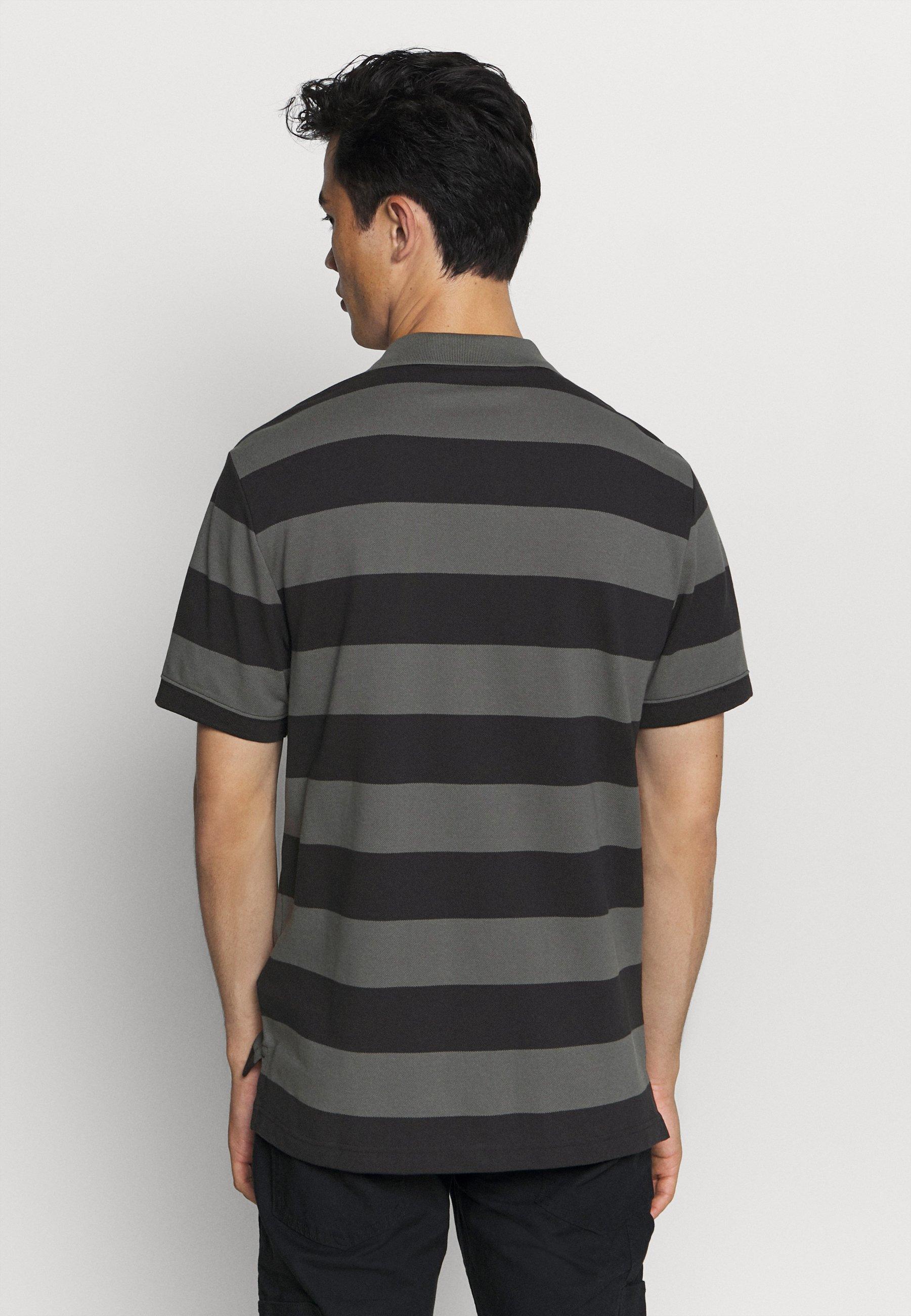 Nike Sportswear STRIPE - Polo shirt - black/iron grey wARIQ