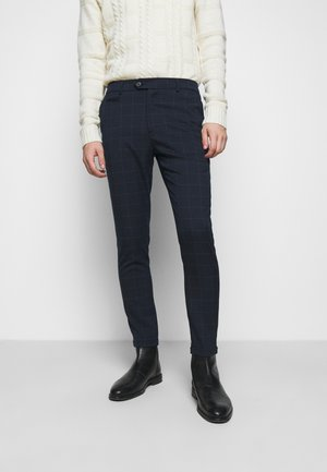 COMO CHECK SUIT PANTS - Pantaloni - dark navy/light grey melange