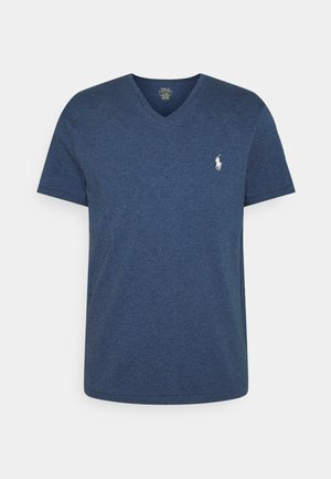 CUSTOM SLIM FIT JERSEY V-NECK T-SHIRT - T-shirt basic - derby blue heather