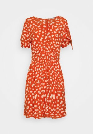 COVERED BUTTON RETRO MINI - Day dress - thai chili