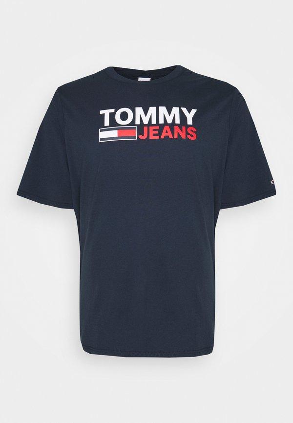 Tommy Jeans Plus CORP LOGO TEE - T-shirt z nadrukiem - twilight navy/granatowy Odzież Męska SLLK