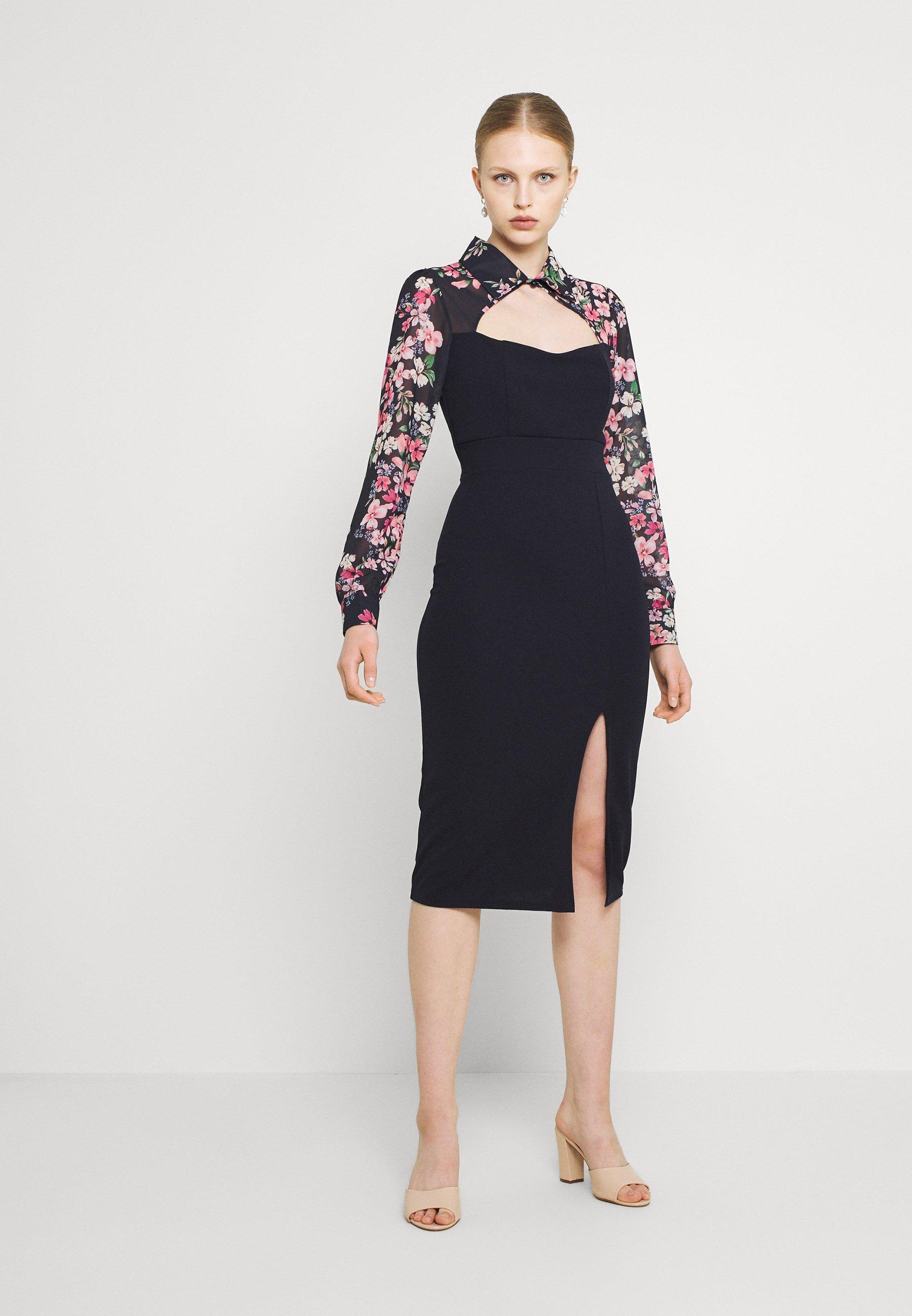 Damen FLORAL COLLAR MIDI DRESS - Jerseykleid